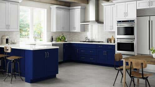 RTA Navy White Shaker Kitchen Cabinets
